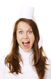 Happy woman with roll of toilet paper on her head Royalty Free Stock Image