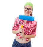 Happy woman with roller Stock Images