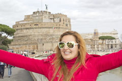 Happy woman in Rome Stock Photography