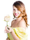 Happy woman with rose Stock Image