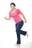 Happy woman running royalty free stock photo