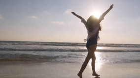 Free Happy Woman Running And Spinning On The Beach Near The Ocean. Young Beautiful Girl Enjoying Life And Having Fun At Sea Royalty Free Stock Photos - 97351098