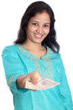 Happy woman with rupee notes Royalty Free Stock Image