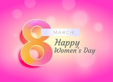 Happy woman`s day greeting card design with beautiful background Royalty Free Stock Images