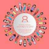 Happy woman`s day. Greeting card international woman`s day with cartoon illustration, set vector woman`s character stock illustration