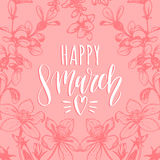 Happy Woman`s day hand lettering card. Floral background. Vector 8 March curly calligraphy with flowers illustration. Happy Woman`s day handwritten lettering Royalty Free Stock Photos