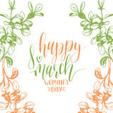 Happy Woman`s day hand lettering card. Floral background. Vector 8 March curly calligraphy with flowers illustration. Happy Woman`s day handwritten lettering Stock Photos