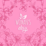 Happy Woman`s day hand lettering card. Floral background. Vector 8 March curly calligraphy with flowers illustration. Happy Woman`s day handwritten lettering Royalty Free Stock Photography