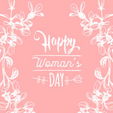 Happy Woman`s day hand lettering card. Floral background. Vector 8 March curly calligraphy with flowers illustration. Happy Woman`s day handwritten lettering Royalty Free Stock Photo