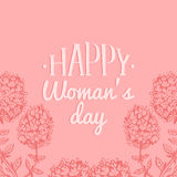 Happy Woman`s day hand lettering card. Vintage floral background. Vector 8 March curly calligraphy with flowers. Happy Woman`s day handwritten lettering card Stock Images
