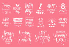 Happy Woman`s day handwritten lettering set. 8 March calligraphy collection for greeting or invitation cards, tags etc. Happy Woman`s day handwritten lettering Stock Photography