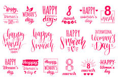Happy Woman`s day handwritten lettering set. 8 March calligraphy collection for greeting or invitation cards, tags etc. Happy Woman`s day handwritten lettering Royalty Free Stock Photo