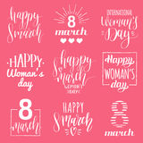 Happy Woman`s day handwritten lettering set. 8 March calligraphy collection for greeting or invitation cards, tags etc. Happy Woman`s day handwritten lettering Royalty Free Stock Images