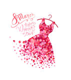 Happy woman`s day! 8 March holiday. Dress. Of pink rose petals royalty free illustration