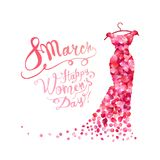 Happy woman`s day! 8 March. Dress of pink petals. Happy woman`s day! 8 March holiday. Dress of pink rose petals Stock Image