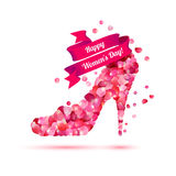 Happy woman`s day! 8 March holiday. High heels shoe. Pink rose petals Stock Photos