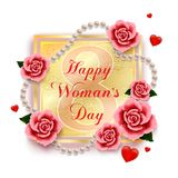 Happy woman`s day 8 March with roses, hearts and pearls. On white background. Wallpaper.flyers, invitation, posters, brochure, banners. Vector illustration stock illustration