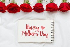 Happy woman's day message decorated with rose flowers Royalty Free Stock Image