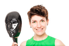 Happy woman`s face and gloss mask Stock Photo