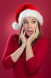 Happy woman with Santa Hat Royalty Free Stock Photo