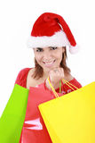 Happy woman in Santa hat Royalty Free Stock Photos