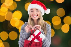 Happy woman in santa hat holding gift in shopping bag Stock Photos