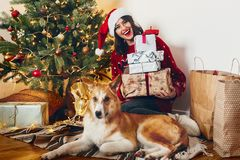 Happy woman in santa hat holding many gift boxes and cute puppy stock image