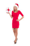 Happy woman in santa hat posing with gift isolated on white back Royalty Free Stock Photos