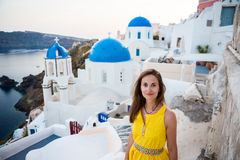 Happy woman in Santorini island Royalty Free Stock Photos