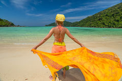 Happy woman with sarong Royalty Free Stock Photos