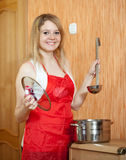 Happy woman with  saucepan Royalty Free Stock Photo