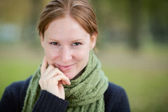 Happy Woman with a Scarf Smiling Stock Photography
