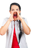 Happy woman screaming Stock Images