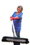 Happy woman with scrubber Stock Images