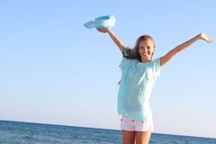 Happy woman on sea background Stock Images