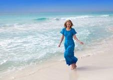 Happy woman on sea coast Royalty Free Stock Photos