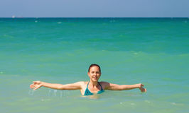 Happy woman in the sea Royalty Free Stock Photography