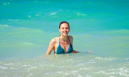 Happy woman in the sea Royalty Free Stock Image