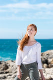 Happy woman at the sea Royalty Free Stock Photo