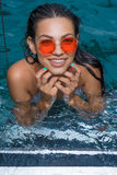 Happy woman in sea water Royalty Free Stock Photo