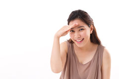 Happy woman searching, looking at you Stock Image
