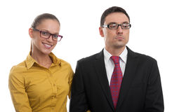 Happy woman and serious businessman Stock Photo