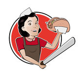 Happy woman serving turkish doner Royalty Free Stock Image