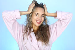 Happy woman with shaggy hair Stock Photography