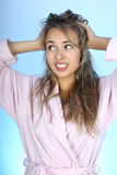 Happy woman with shaggy hair Royalty Free Stock Photo