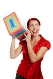 Happy woman shaking christmas gift Royalty Free Stock Photography