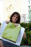 Happy woman after shooping Stock Photography
