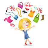 Happy woman shopaholic shopping items. Vector illustration of a cartoon character: Happy woman, shopaholic celebrating her purchases; shoes, clothes, makeup as Stock Photos
