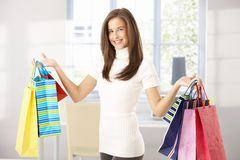 Happy woman with shopping Royalty Free Stock Image