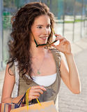 Happy woman  in shopping Stock Images